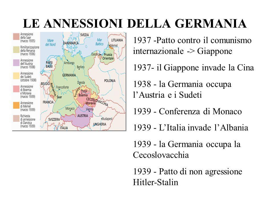 LE ANNESSIONI DELLA GERMANIA 1937 -Patto contro il comunismo internazionale -> Giappone 1937- il Giappone invade la Cina 1938 - la Germania occupa lAu
