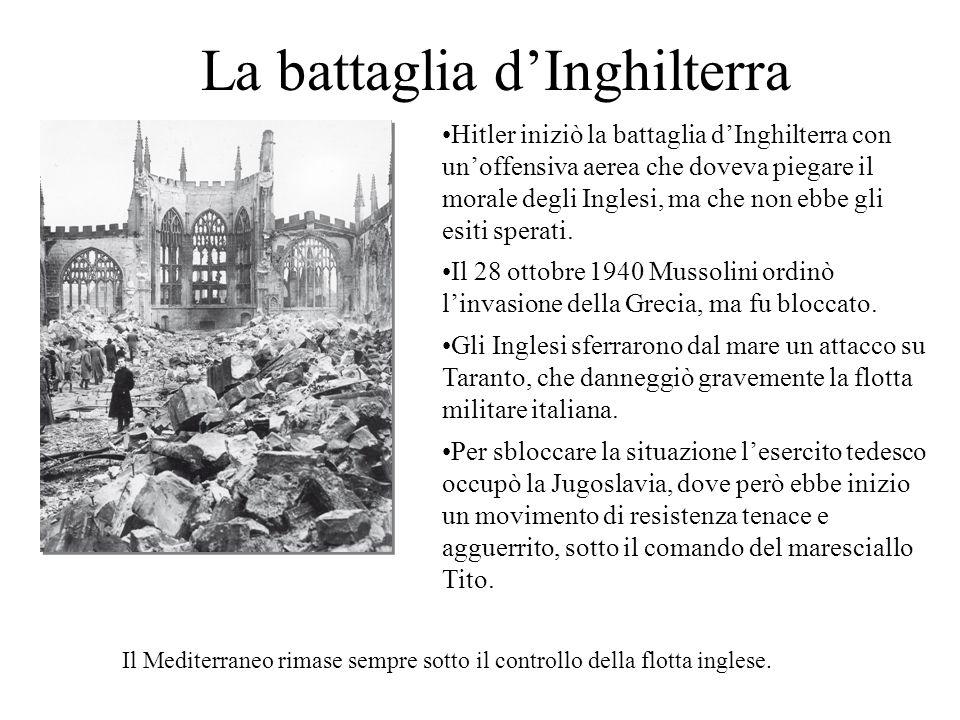 La battaglia dInghilterra Hitler iniziò la battaglia dInghilterra con unoffensiva aerea che doveva piegare il morale degli Inglesi, ma che non ebbe gl
