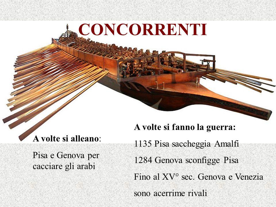 CONCORRENTI A volte si alleano: Pisa e Genova per cacciare gli arabi A volte si fanno la guerra: 1135 Pisa saccheggia Amalfi 1284 Genova sconfigge Pis