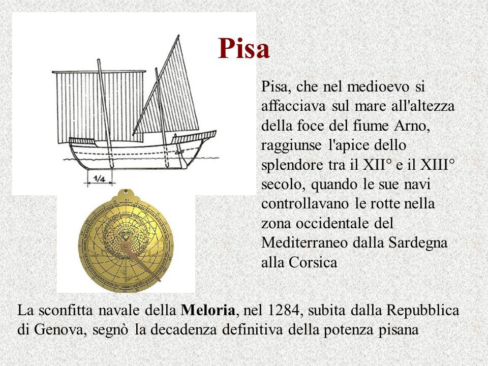 Pisa Pisa, che nel medioevo si affacciava sul mare all'altezza della foce del fiume Arno, raggiunse l'apice dello splendore tra il XII° e il XIII° sec