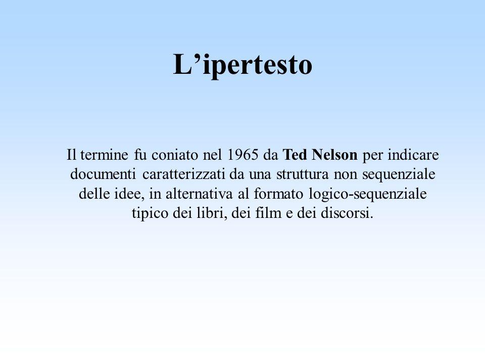 Lipertesto Il termine fu coniato nel 1965 da Ted Nelson per indicare documenti caratterizzati da una struttura non sequenziale delle idee, in alternativa al formato logico-sequenziale tipico dei libri, dei film e dei discorsi.