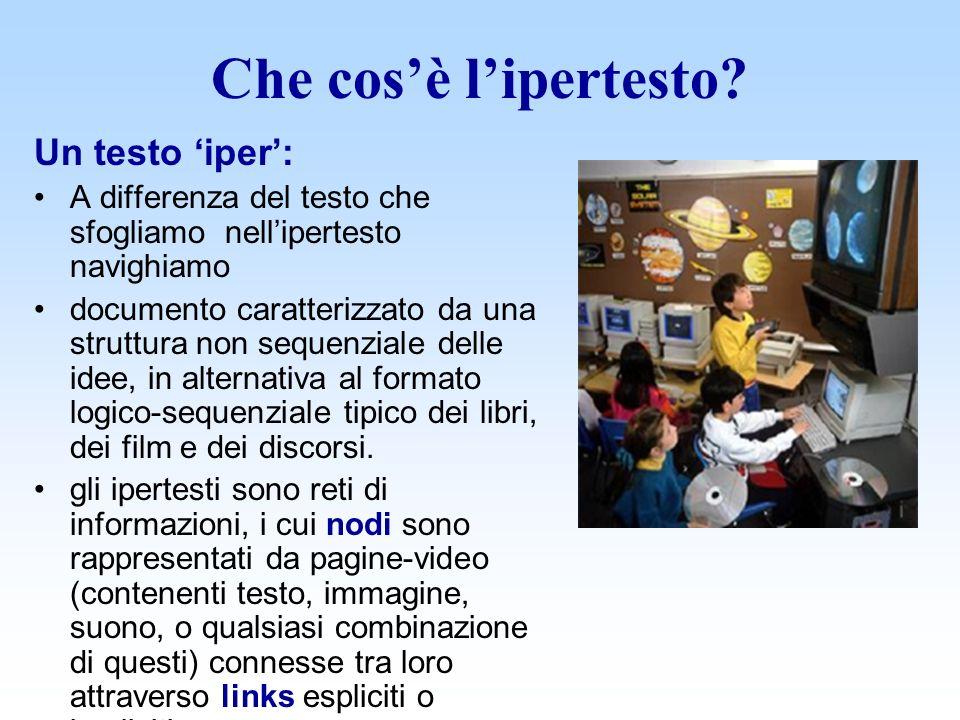 La natura dellipertesto L ipertesto è un genere di testo non organizzato come un documento classico, lineare, da leggere dall inizio alla fine.