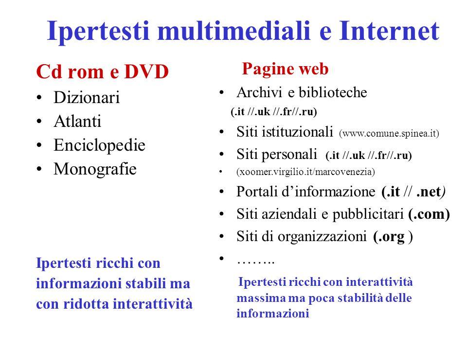Ipertesti multimediali e Internet Cd rom e DVD Dizionari Atlanti Enciclopedie Monografie Ipertesti ricchi con informazioni stabili ma con ridotta interattività Pagine web Archivi e biblioteche (.it //.uk //.fr//.ru) Siti istituzionali (www.comune.spinea.it) Siti personali (.it //.uk //.fr//.ru) (xoomer.virgilio.it/marcovenezia) Portali dinformazione (.it //.net) Siti aziendali e pubblicitari (.com) Siti di organizzazioni (.org ) ……..