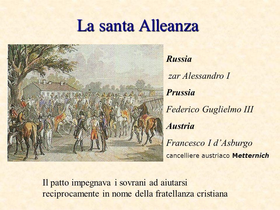 La santa Alleanza Russia zar Alessandro I Prussia Federico Guglielmo III Austria Francesco I dAsburgo cancelliere austriaco Metternich Il patto impegn