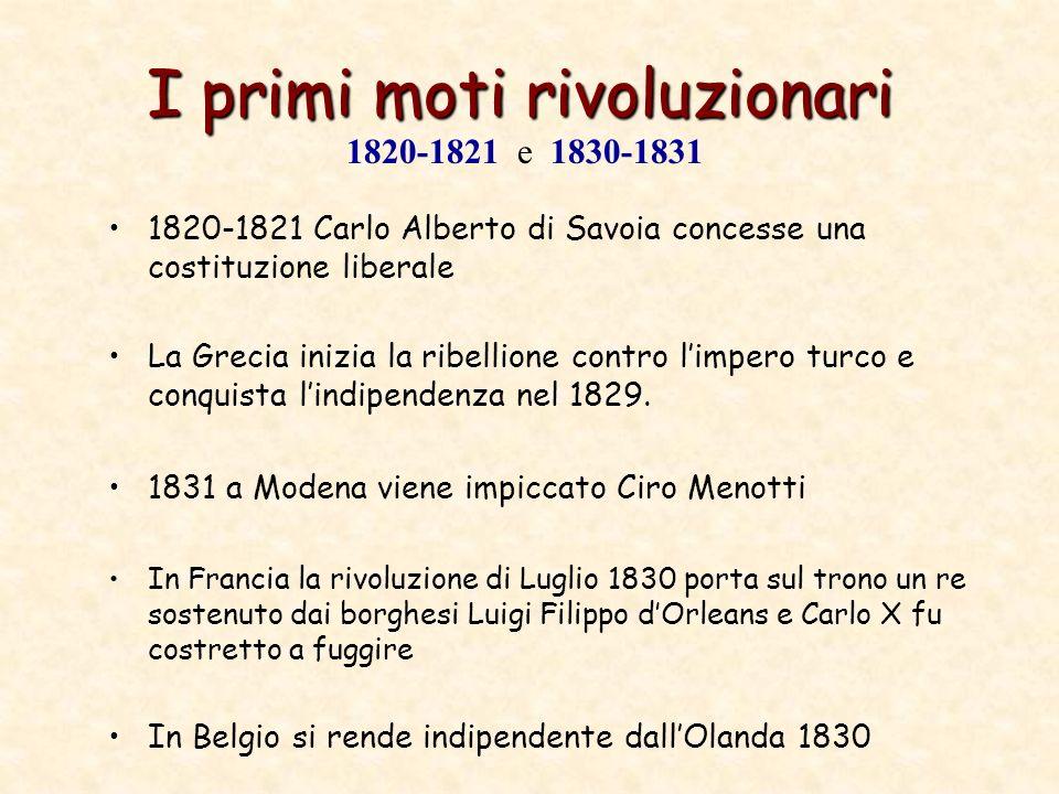 I primi moti rivoluzionari 1820-1821 Carlo Alberto di Savoia concesse una costituzione liberale La Grecia inizia la ribellione contro limpero turco e