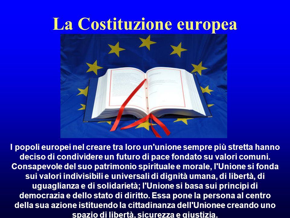 La Costituzione europea I popoli europei nel creare tra loro un unione sempre più stretta hanno deciso di condividere un futuro di pace fondato su valori comuni.