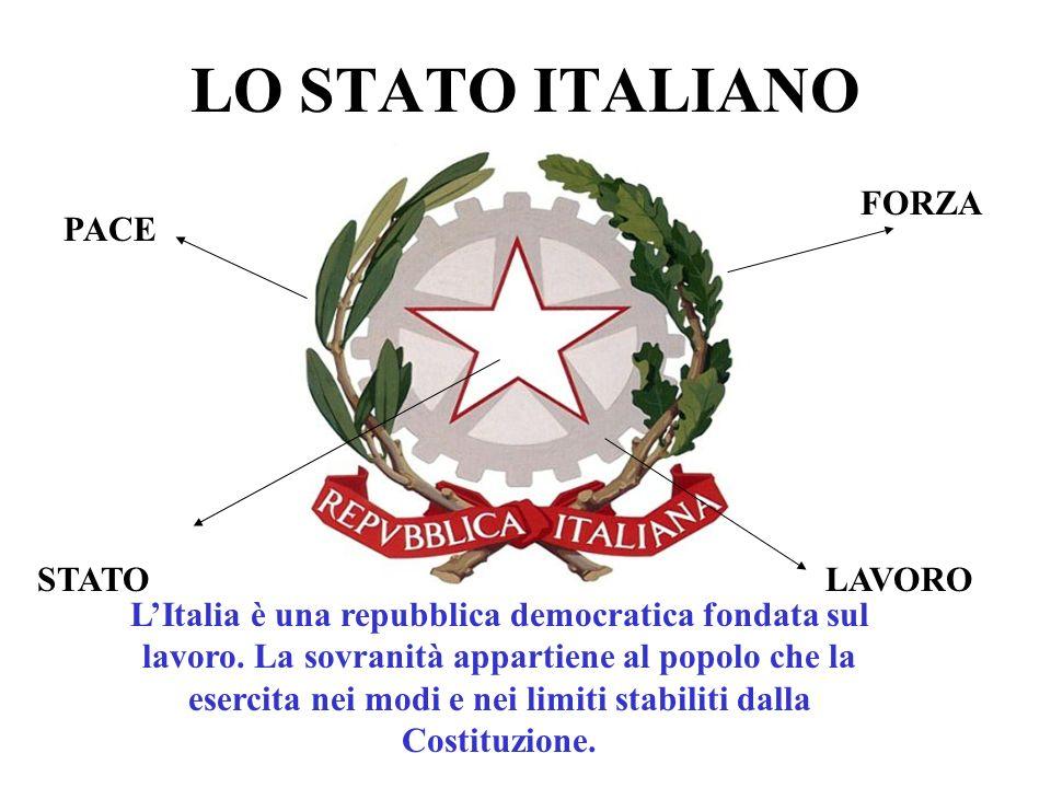LO STATO ITALIANO PACE FORZA LAVOROSTATO LItalia è una repubblica democratica fondata sul lavoro.