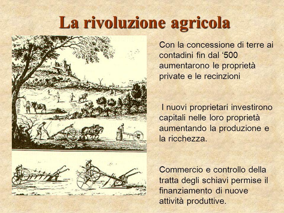 La rivoluzione agricola Con la concessione di terre ai contadini fin dal 500 aumentarono le proprietà private e le recinzioni I nuovi proprietari inve