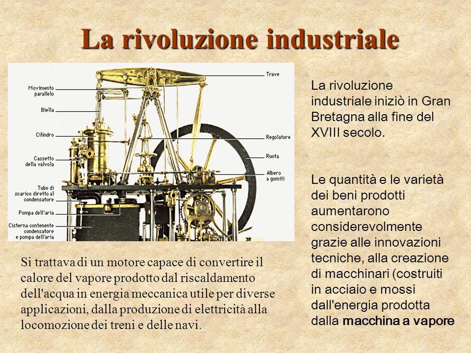 La rivoluzione industriale Si trattava di un motore capace di convertire il calore del vapore prodotto dal riscaldamento dell'acqua in energia meccani