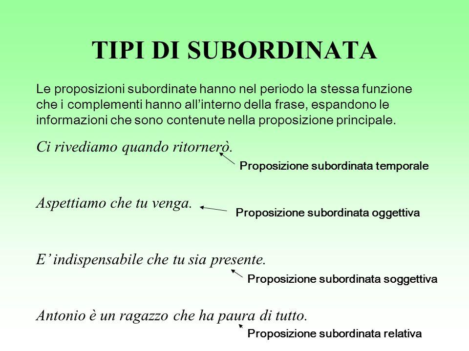 TIPI DI SUBORDINATA Le proposizioni subordinate hanno nel periodo la stessa funzione che i complementi hanno allinterno della frase, espandono le info