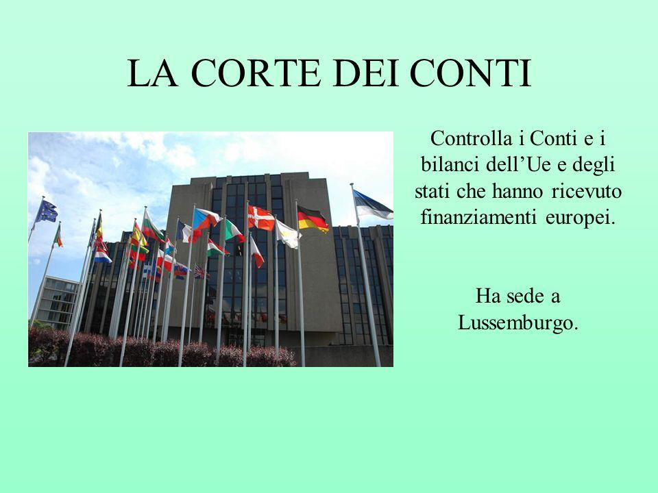 LA CORTE DEI CONTI Controlla i Conti e i bilanci dellUe e degli stati che hanno ricevuto finanziamenti europei. Ha sede a Lussemburgo.