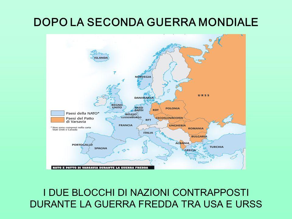 DOPO LA SECONDA GUERRA MONDIALE I DUE BLOCCHI DI NAZIONI CONTRAPPOSTI DURANTE LA GUERRA FREDDA TRA USA E URSS