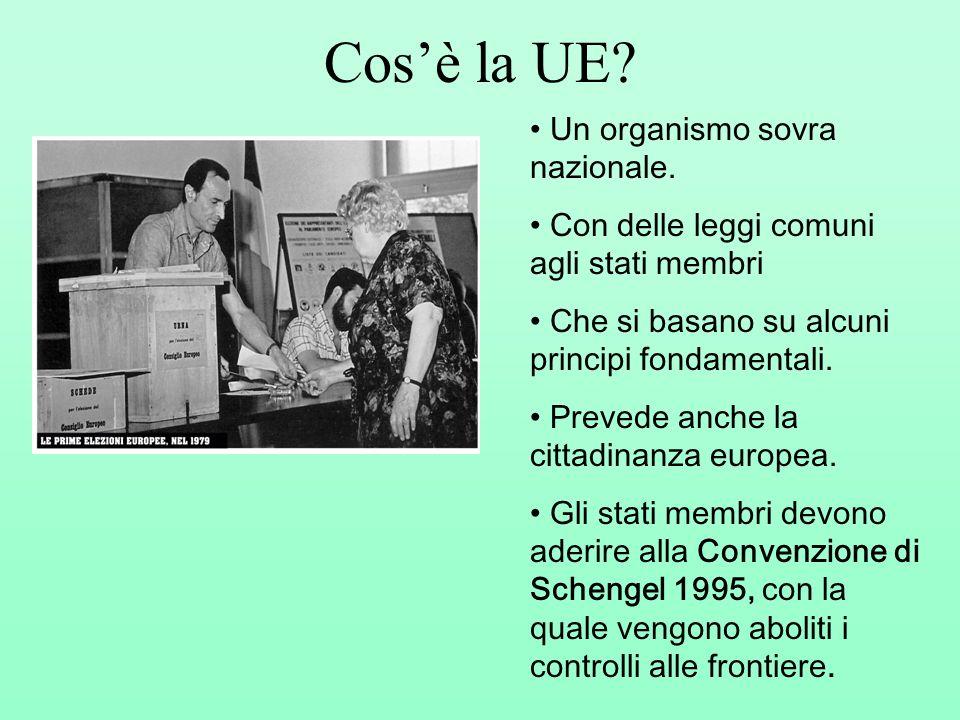 Cosè la UE? Un organismo sovra nazionale. Con delle leggi comuni agli stati membri Che si basano su alcuni principi fondamentali. Prevede anche la cit