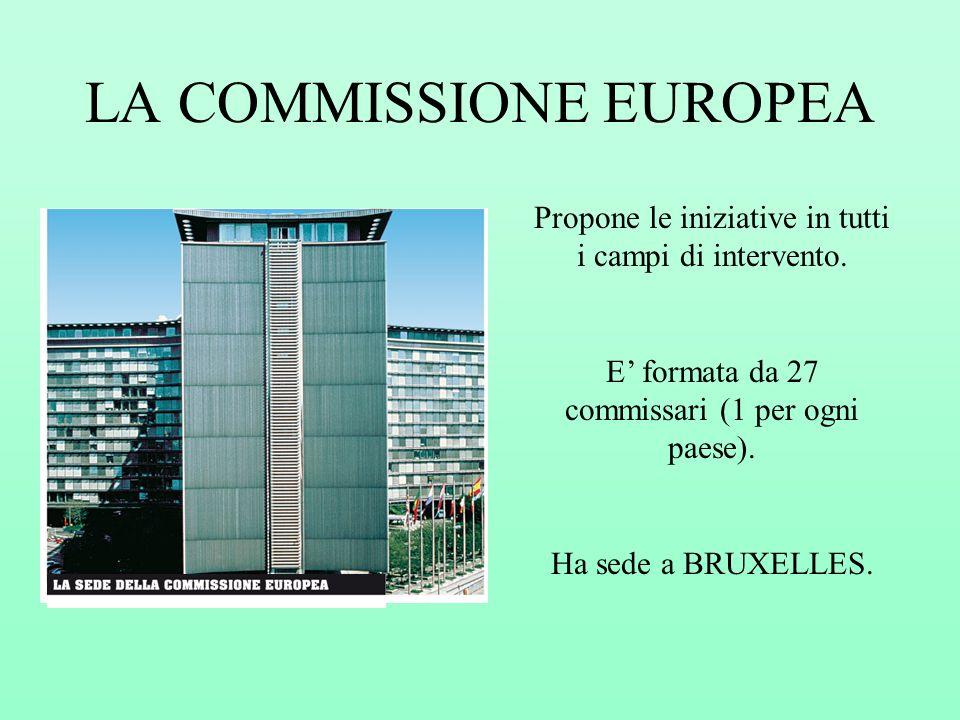 LA COMMISSIONE EUROPEA Propone le iniziative in tutti i campi di intervento. E formata da 27 commissari (1 per ogni paese). Ha sede a BRUXELLES.