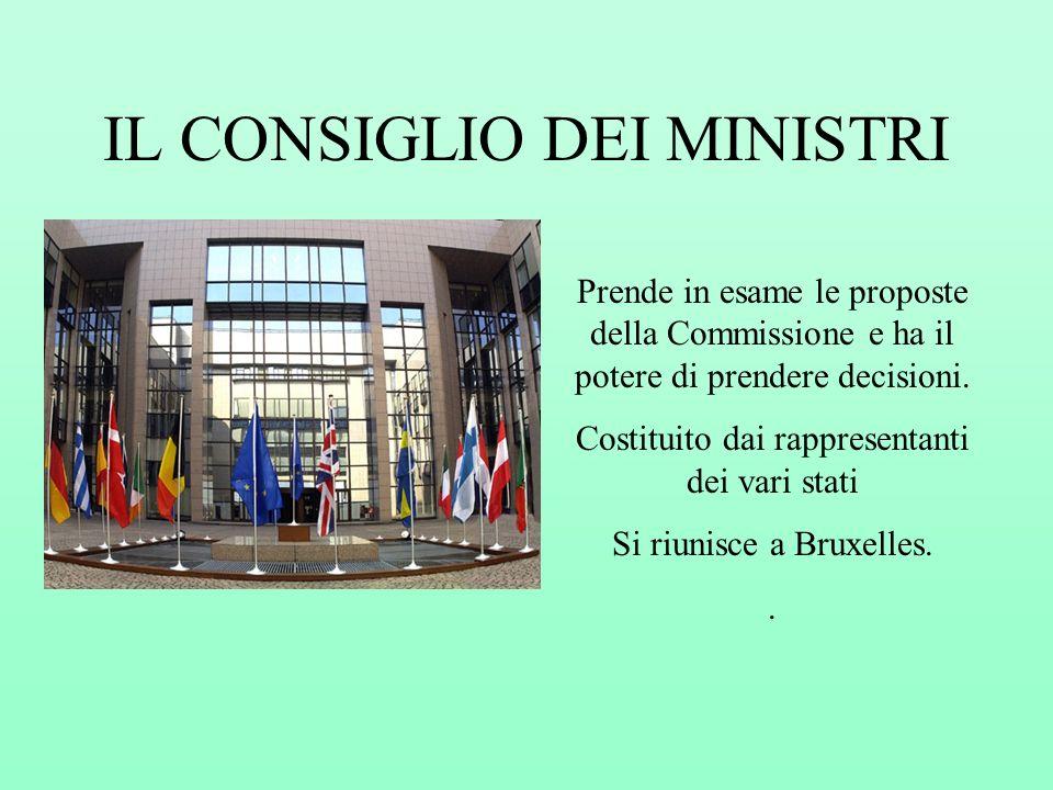 IL CONSIGLIO DEI MINISTRI Prende in esame le proposte della Commissione e ha il potere di prendere decisioni. Costituito dai rappresentanti dei vari s