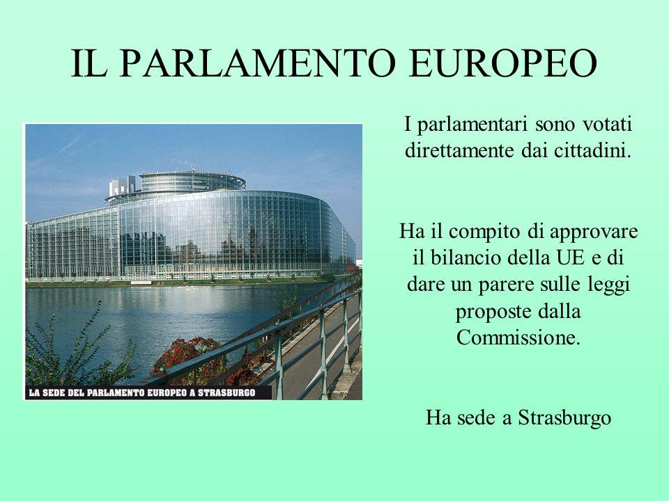 IL PARLAMENTO EUROPEO I parlamentari sono votati direttamente dai cittadini. Ha il compito di approvare il bilancio della UE e di dare un parere sulle