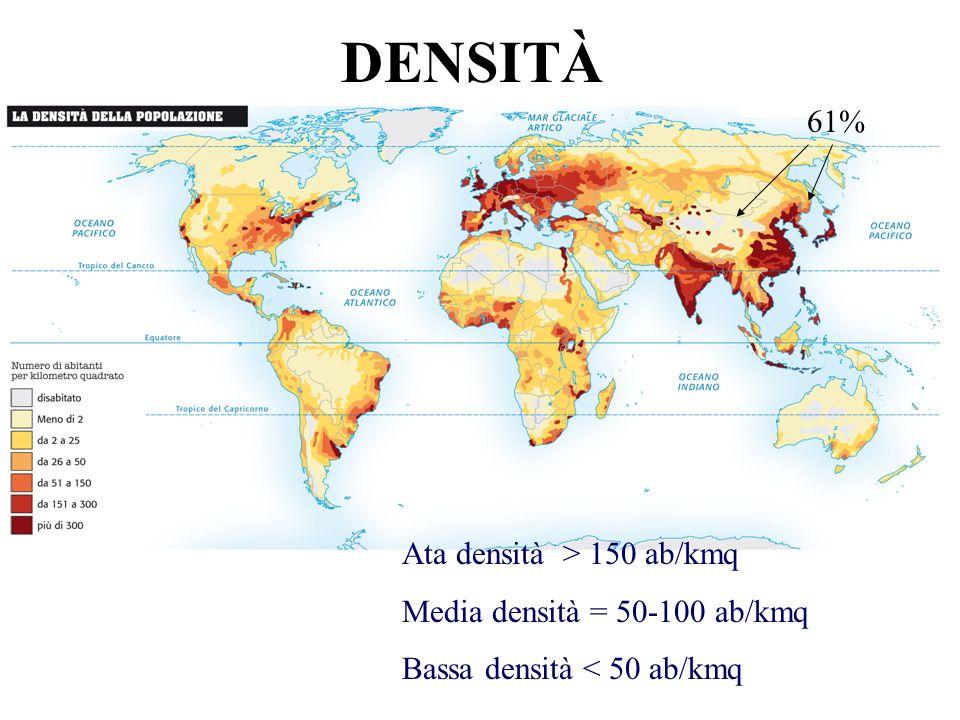 DENSITÀ Ata densità > 150 ab/kmq Media densità = 50-100 ab/kmq Bassa densità < 50 ab/kmq 61%