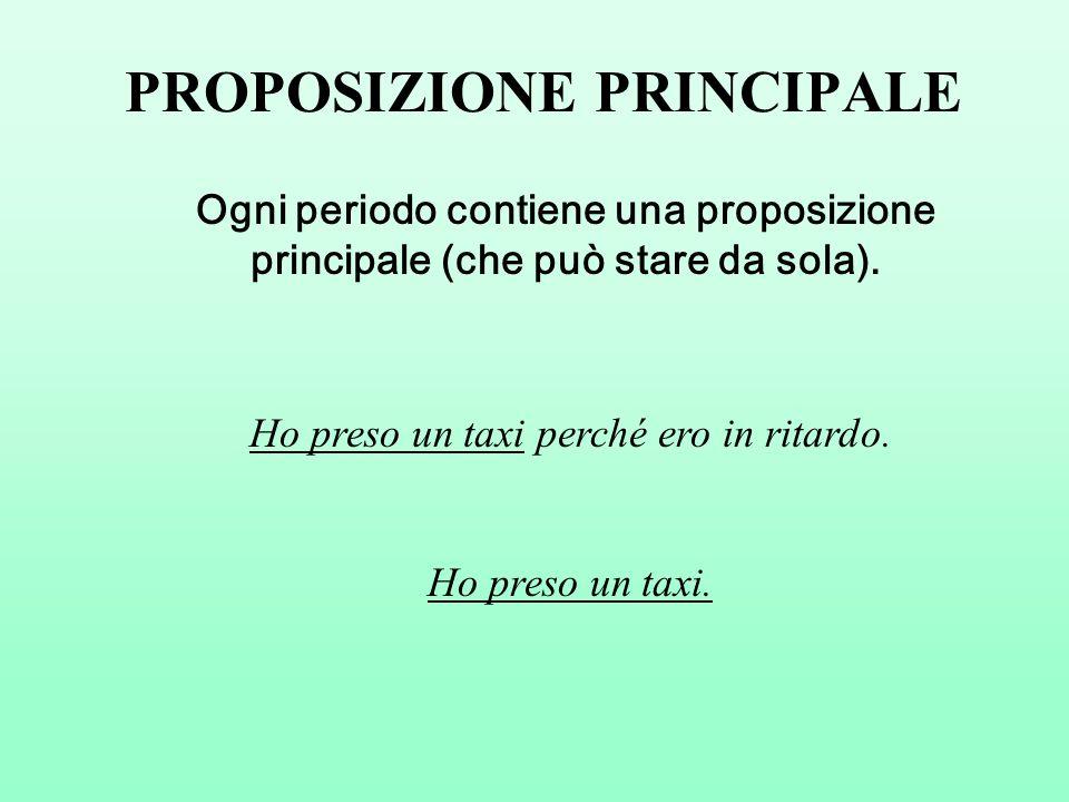 PROPOSIZIONE PRINCIPALE Ogni periodo contiene una proposizione principale (che può stare da sola).