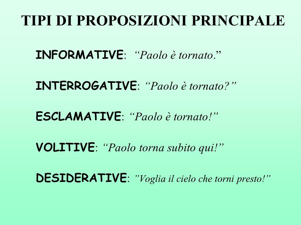 TIPI DI PROPOSIZIONI PRINCIPALE INFORMATIVE : Paolo è tornato.