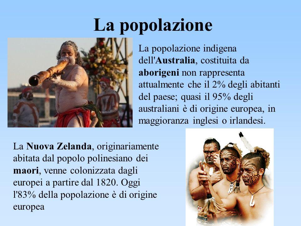 La popolazione La popolazione indigena dell'Australia, costituita da aborigeni non rappresenta attualmente che il 2% degli abitanti del paese; quasi i