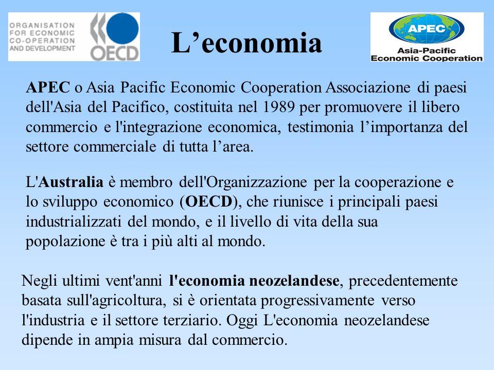 Leconomia Negli ultimi vent'anni l'economia neozelandese, precedentemente basata sull'agricoltura, si è orientata progressivamente verso l'industria e
