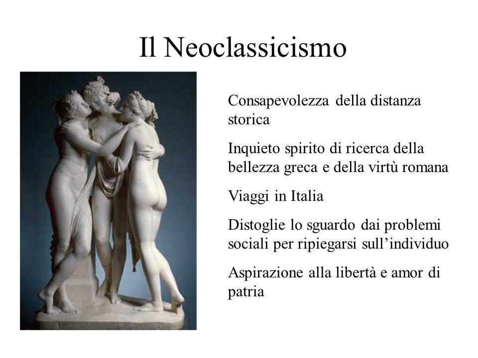 Il Neoclassicismo Consapevolezza della distanza storica Inquieto spirito di ricerca della bellezza greca e della virtù romana Viaggi in Italia Distogl