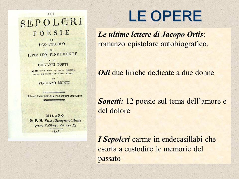 LE OPERE Le ultime lettere di Jacopo Ortis: romanzo epistolare autobiografico. Odi due liriche dedicate a due donne Sonetti: 12 poesie sul tema dellam