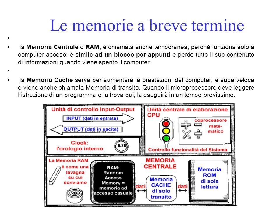 Le memorie a breve termine la Memoria Centrale o RAM, è chiamata anche temporanea, perché funziona solo a computer acceso: è simile ad un blocco per appunti e perde tutto il suo contenuto di informazioni quando viene spento il computer.
