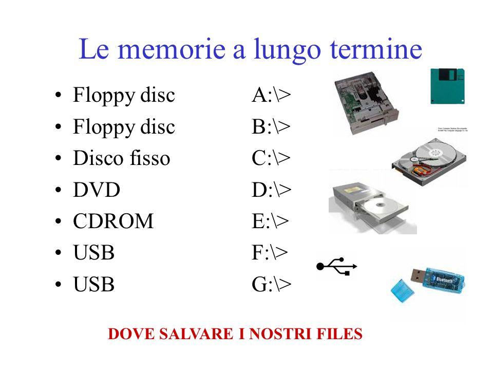 Le memorie a lungo termine Floppy discA:\> Floppy discB:\> Disco fissoC:\> DVDD:\> CDROME:\> USBF:\> USBG:\> DOVE SALVARE I NOSTRI FILES