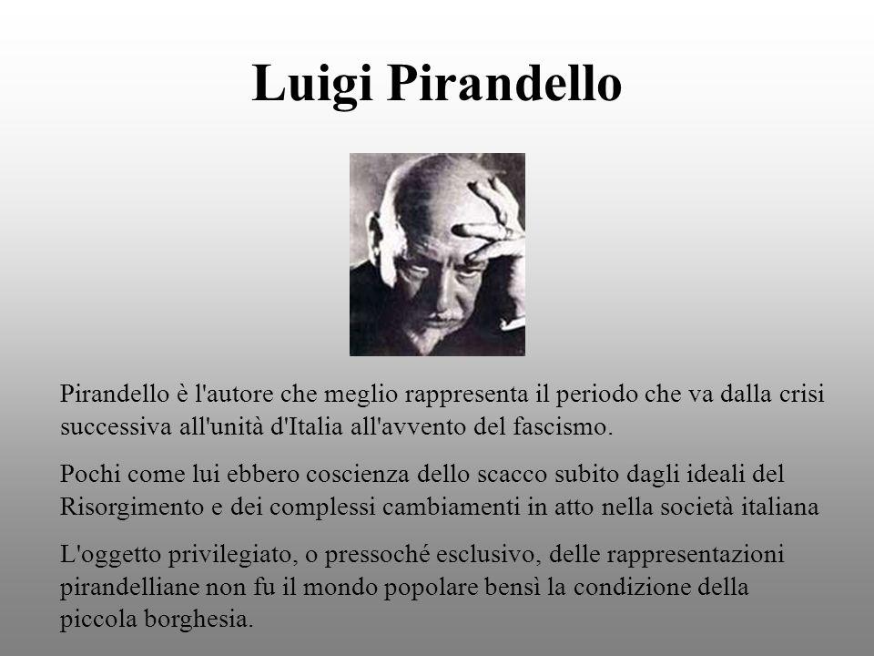 Luigi Pirandello Pirandello è l'autore che meglio rappresenta il periodo che va dalla crisi successiva all'unità d'Italia all'avvento del fascismo. Po