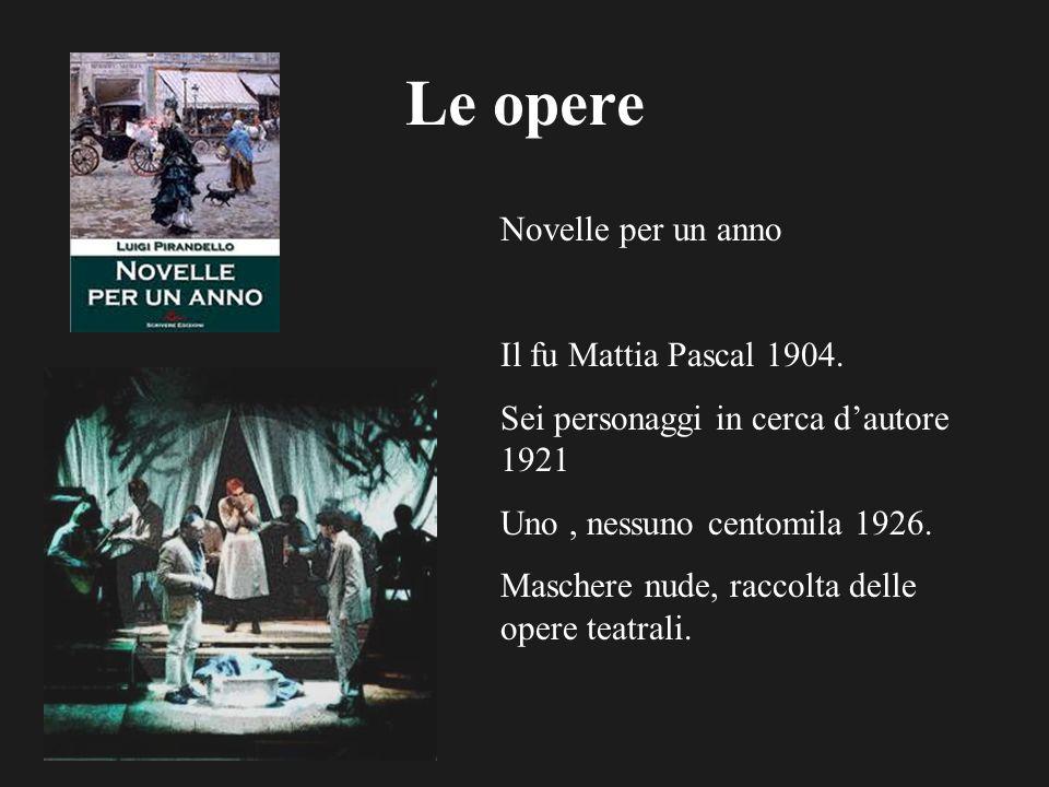 Le opere Novelle per un anno Il fu Mattia Pascal 1904. Sei personaggi in cerca dautore 1921 Uno, nessuno centomila 1926. Maschere nude, raccolta delle