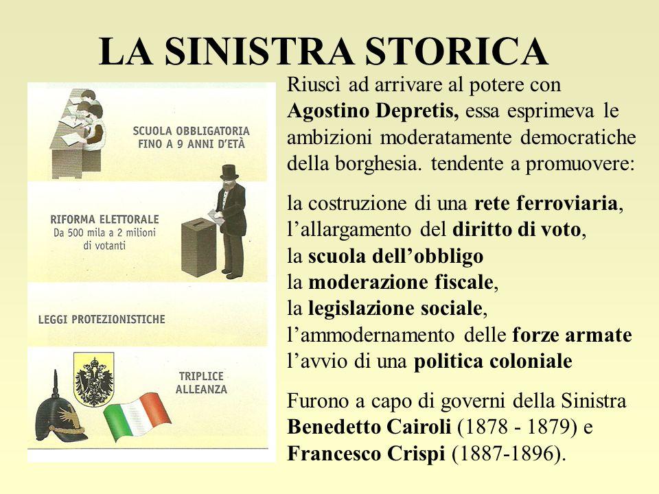 LA SINISTRA STORICA Riuscì ad arrivare al potere con Agostino Depretis, essa esprimeva le ambizioni moderatamente democratiche della borghesia. tenden
