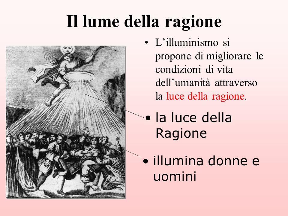 Lilluminismo si propone di migliorare le condizioni di vita dellumanità attraverso la luce della ragione. la luce della Ragione illumina donne e uomin