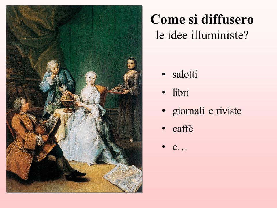 salotti libri giornali e riviste caffé e… Come si diffusero le idee illuministe?
