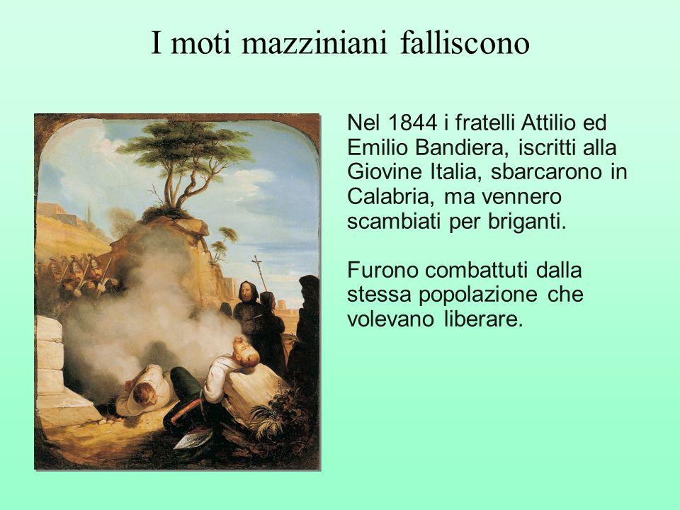 Nel 1844 i fratelli Attilio ed Emilio Bandiera, iscritti alla Giovine Italia, sbarcarono in Calabria, ma vennero scambiati per briganti. Furono combat