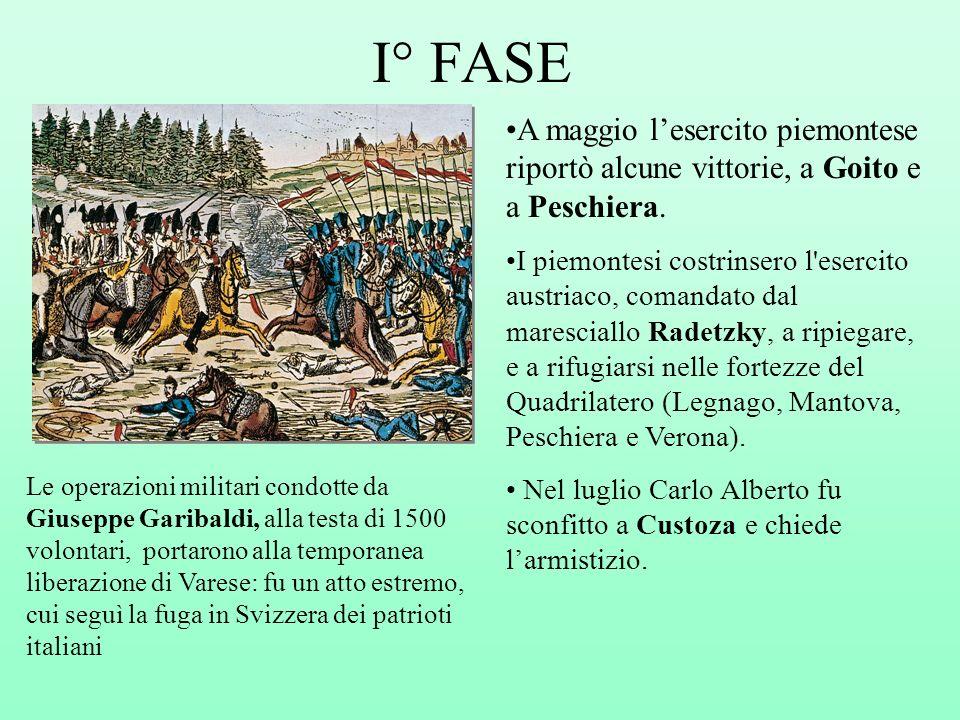 I° FASE A maggio lesercito piemontese riportò alcune vittorie, a Goito e a Peschiera. I piemontesi costrinsero l'esercito austriaco, comandato dal mar