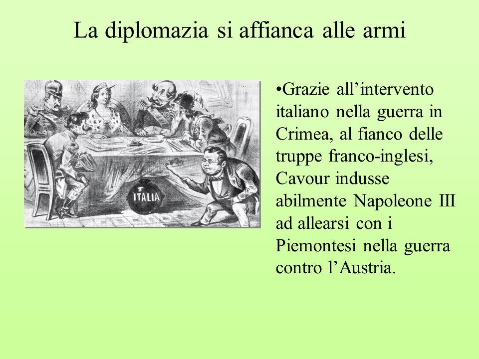 La diplomazia si affianca alle armi Grazie allintervento italiano nella guerra in Crimea, al fianco delle truppe franco-inglesi, Cavour indusse abilme