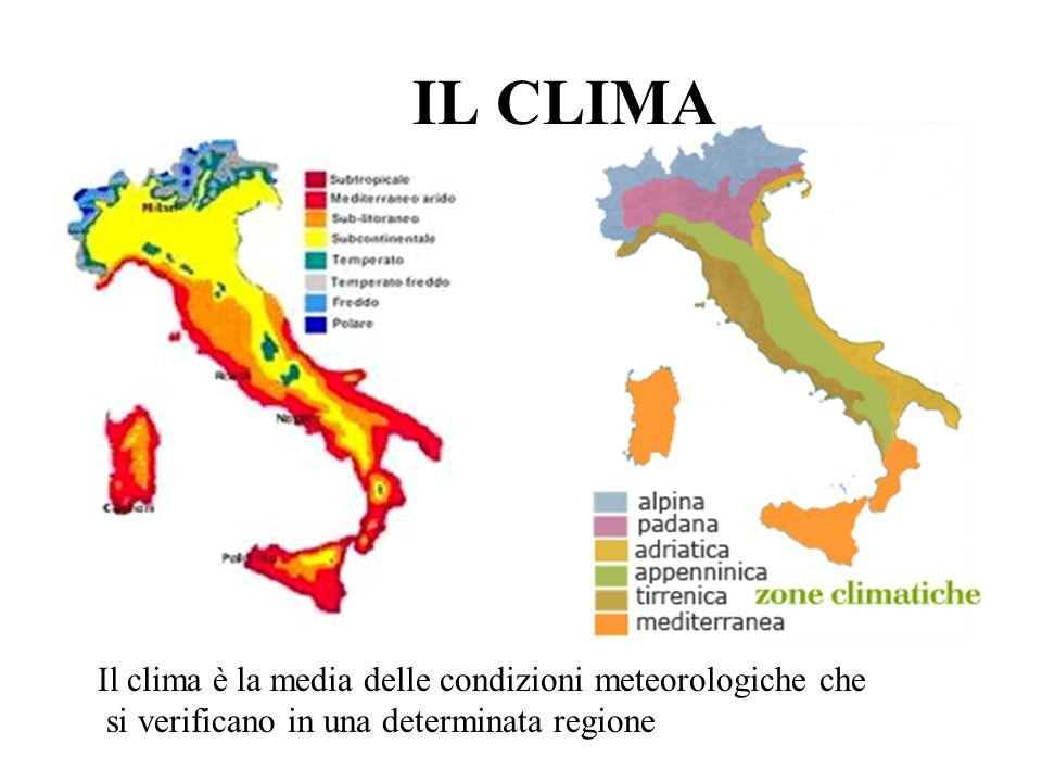Elementi climatici TEMPERATURA PRESSIONE ATMOSFERICA UMIDITA PRECIPITAZIONI VENTI NUVOLOSITA in gradi °C barometro in millibar Vapore contenuto nellaria determinano