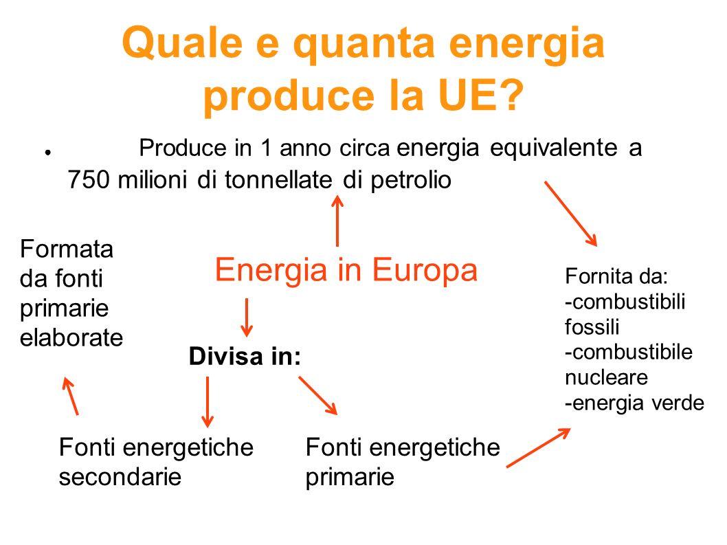 Quale e quanta energia produce la UE? Produce in 1 anno circa energia equivalente a 750 milioni di tonnellate di petrolio Divisa in: Energia in Europa