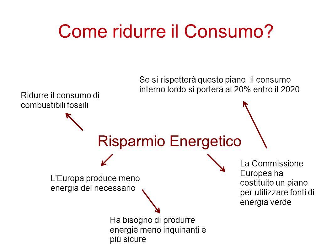 Come ridurre il Consumo? Risparmio Energetico La Commissione Europea ha costituito un piano per utilizzare fonti di energia verde Se si rispetterà que