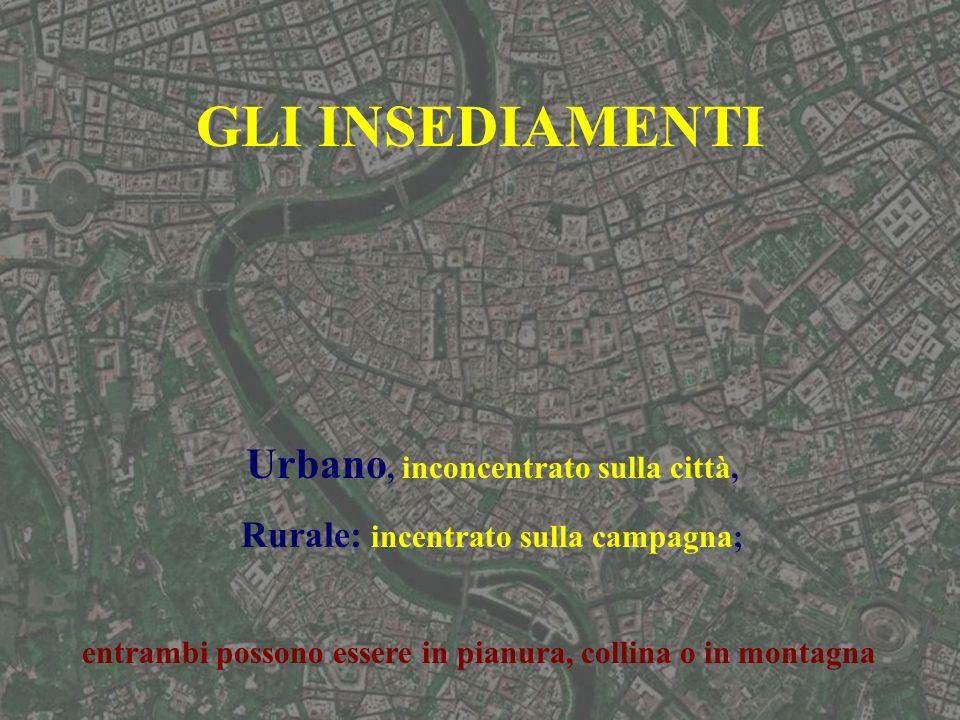 GLI INSEDIAMENTI Urbano, inconcentrato sulla città, Rurale: incentrato sulla campagna; entrambi possono essere in pianura, collina o in montagna