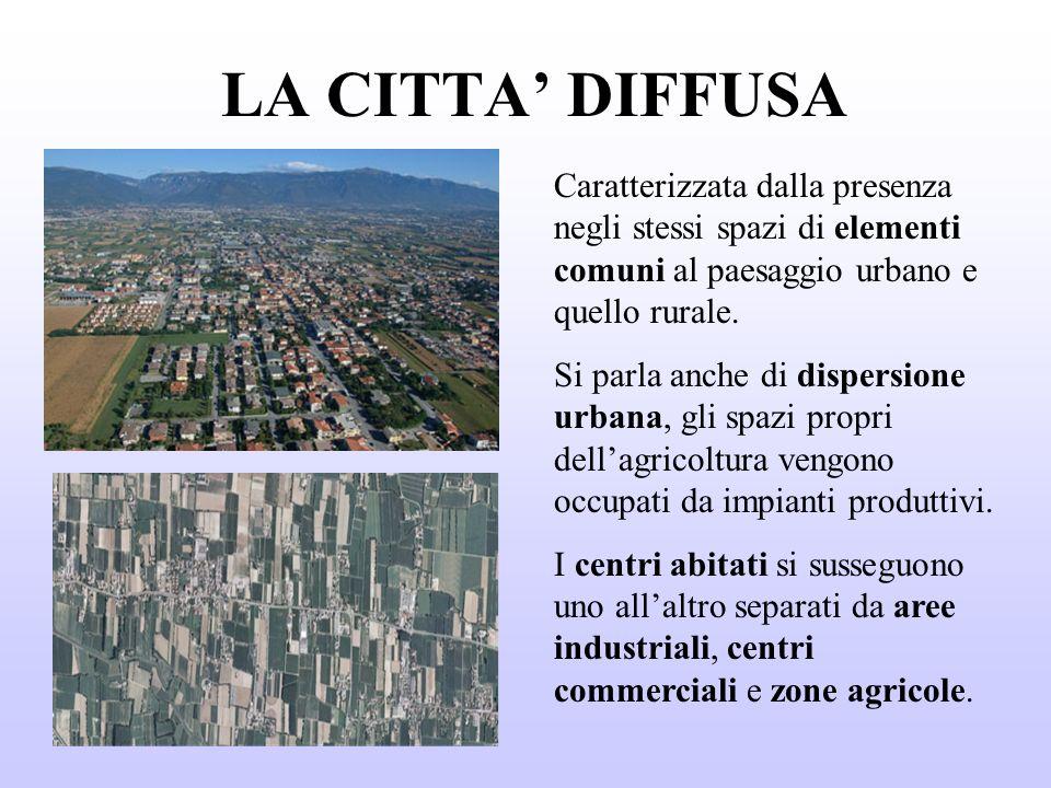 LA CITTA DIFFUSA Caratterizzata dalla presenza negli stessi spazi di elementi comuni al paesaggio urbano e quello rurale.