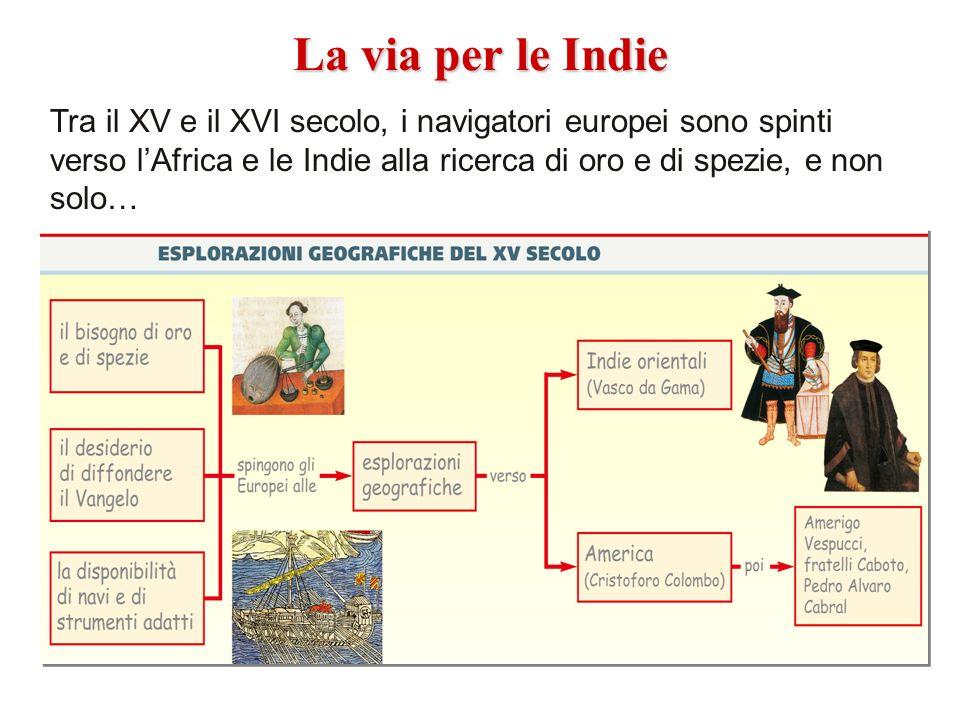 Tra il XV e il XVI secolo, i navigatori europei sono spinti verso lAfrica e le Indie alla ricerca di oro e di spezie, e non solo… La via per le Indie