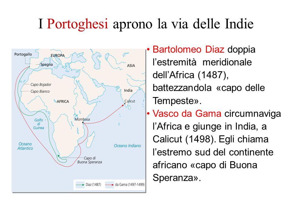 Bartolomeo Diaz doppia lestremità meridionale dellAfrica (1487), battezzandola «capo delle Tempeste». Vasco da Gama circumnaviga lAfrica e giunge in I