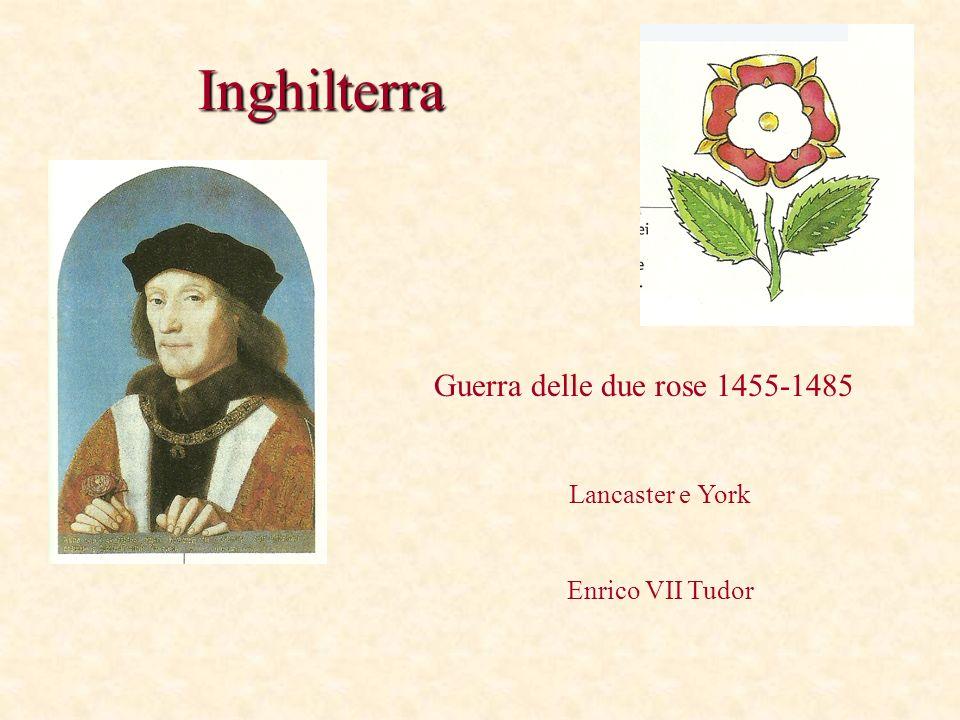Inghilterra Guerra delle due rose 1455-1485 Lancaster e York Enrico VII Tudor