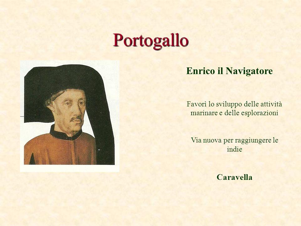 Portogallo Enrico il Navigatore Favorì lo sviluppo delle attività marinare e delle esplorazioni Via nuova per raggiungere le indie Caravella