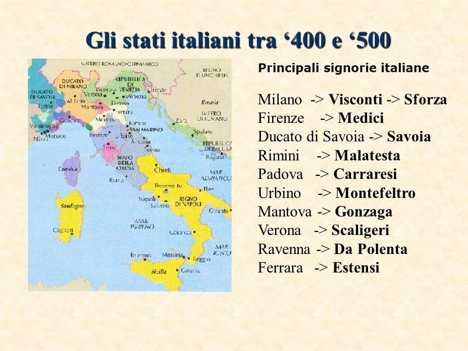 Gli stati italiani tra 400 e 500 Principali signorie italiane Milano -> Visconti -> Sforza Firenze -> Medici Ducato di Savoia -> Savoia Rimini -> Mala
