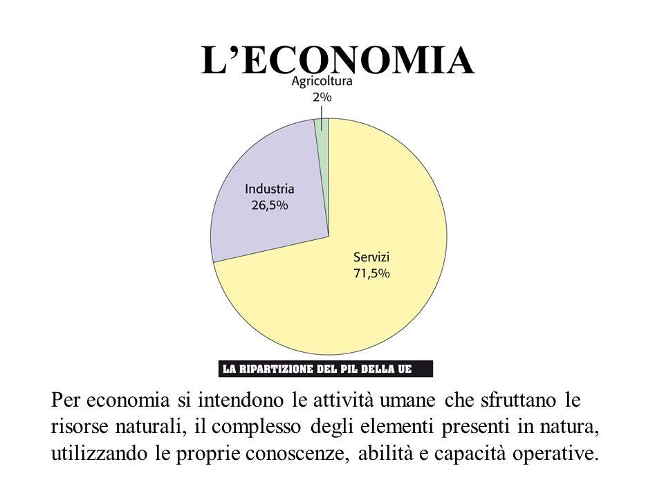 LECONOMIA Per economia si intendono le attività umane che sfruttano le risorse naturali, il complesso degli elementi presenti in natura, utilizzando l