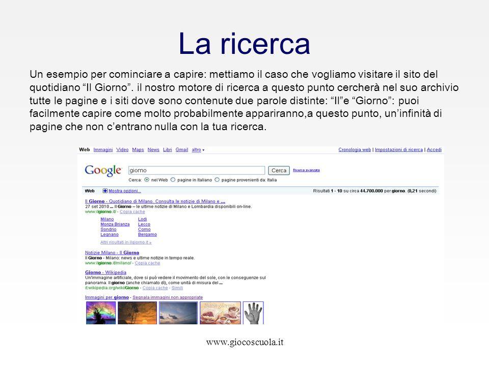 www.giocoscuola.it La ricerca Un esempio per cominciare a capire: mettiamo il caso che vogliamo visitare il sito del quotidiano Il Giorno. il nostro m