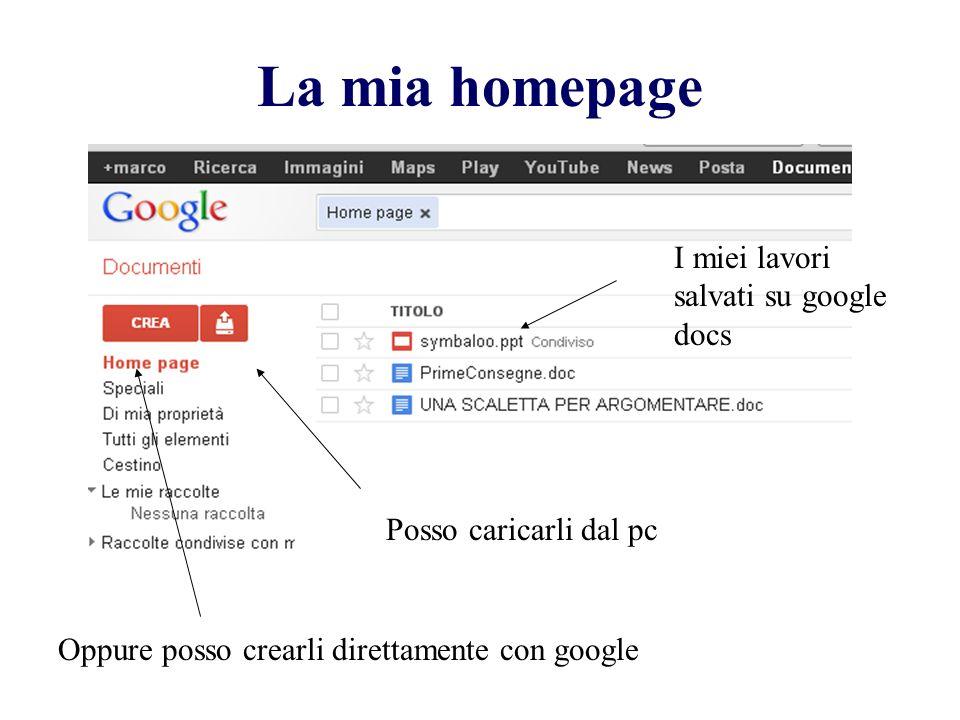La mia homepage I miei lavori salvati su google docs Posso caricarli dal pc Oppure posso crearli direttamente con google